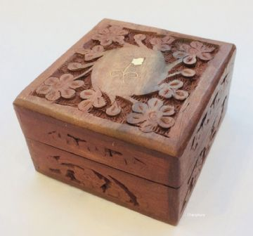 "BRASS & CARVED 4x4"" FLORAL Jewellery Trinket Memory Keepsake Box"